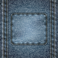 Stitched denim background with copyspace - eps10