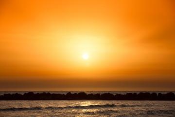 Amazing golden sunset on the mediterranean sea