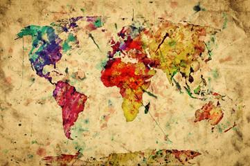 Obraz Kolorowa mapa świata na starym papierze - fototapety do salonu