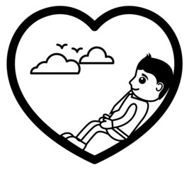 Cartoon Young Boy Character Thinking in Love Heart