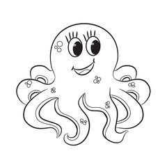 Cartoon octopus. Coloring book. Vector illustration