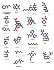 Recreational drugs: methamphetamine, caffeine, THC, ecstasy, etc