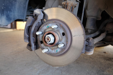Automotive, car disc brakes servicing