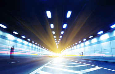 Keuken foto achterwand Tunnel Abstract speed motion in urban highway road tunnel