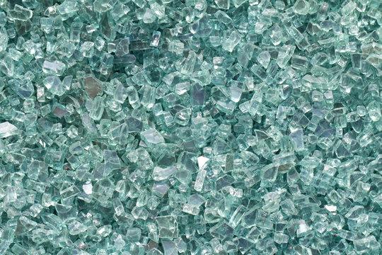 a medium shot of broken glass from above.