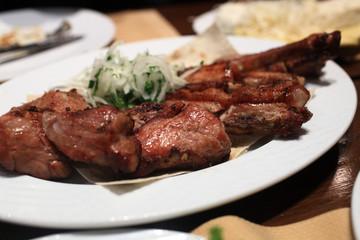 Shish kebab with onion rings