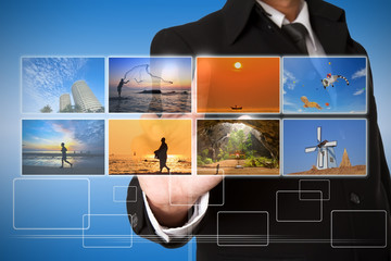 businessman  selecting images streaming