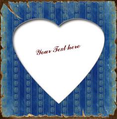 Printed kitchen splashbacks Vintage Poster Weisses Herz - Blauer Hintergrund