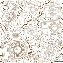 Seamless Pattern of Cameras with speech bubble