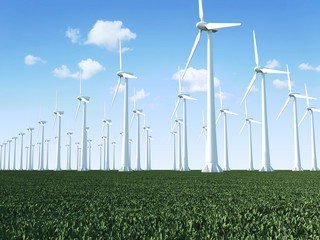 Wind Turbines Farm on beautiful landscape with clouds and sun