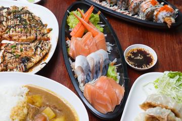 Raw seafood sashimi set