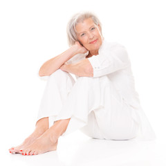 Sitting senior woman