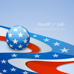 Beautiful American Independence Day background with shiny globe