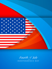 Creative illustration with American Flag with text Fourth Of Jul