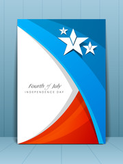 Flyer, banner or card for American Independence Day in flag colo