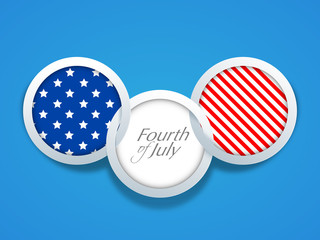 American Independence Day background with flag badge having text