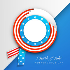 American Independence Day background with badge in flag colors a