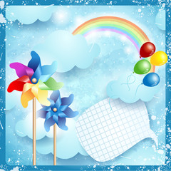 Door stickers Rainbow Spring background with copyspace