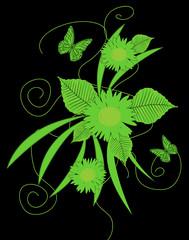 motivo florealecon farfalle verde su sfondo nero