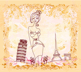 Wall Murals Doodle beautiful women Shopping in France and Italy