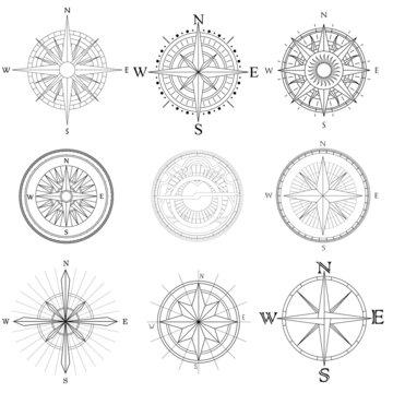 Set illustration of artistic compass.
