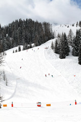 Skiing in the Dolomites of Italy