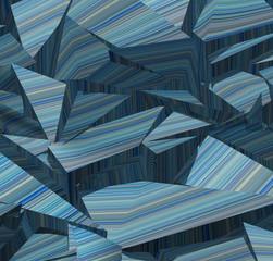 3d fragmented stripe pattern  blue backdrop