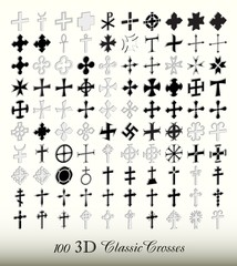 Collection of 100 isolated classic cross in three dimensions