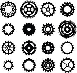 set: black cogwheel