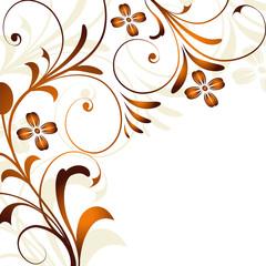 abbild, abstrakt, floral, orange, braun, flora, blatt, blüte,