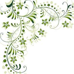 abstrakt, floral, flora, blatt, blätter, blüte, grün, vektor,