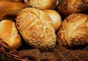Bread buns in a basket