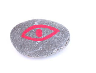 Fortune telling  with symbols on stone isolated on white