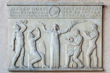 Engraving in memorial of Alfred Nobel