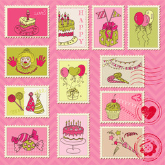 Birthday Postage Stamps - for scrapbook, invitation, congratulat