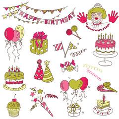 Scrapbook Design Elements - Birthday Party Set - in vector