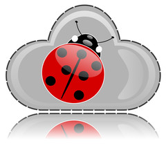 Cloud button with ladybug