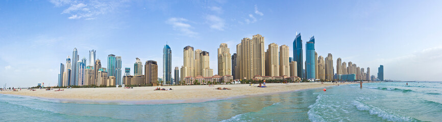 Photo sur Aluminium Bleu ciel Marina Beach - Panorama (Dubai)