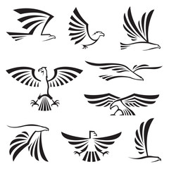 set of nine eagle symbols