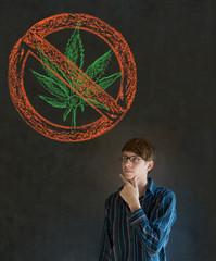 No weed marijuana man on blackboard background