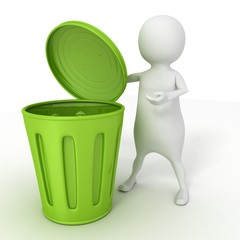 3d white man with opened green recycle trash can