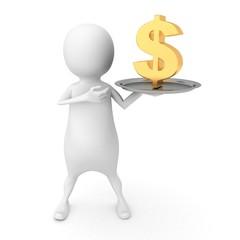 white 3d man holding U.S. dollar golden sign