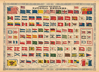 Wall Mural - Vintage chart of Flags