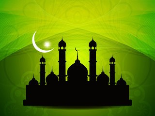 Deurstickers abstract beautiful eid background with mosque.