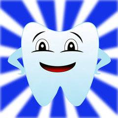 a merry tooth on a white-blue background