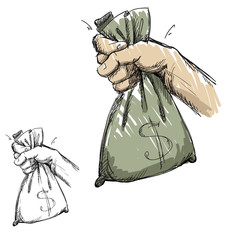 Hand grabbing a bag with money