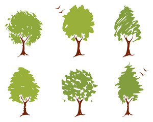 A set of abstract illustrations - trees