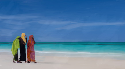 women on the beach in zanzibar