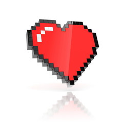 Wall Murals Pixel pixelated heart 3d icon