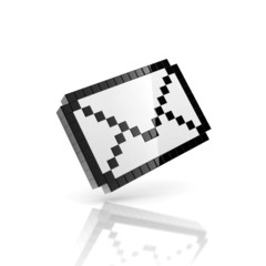 Poster Pixel e-mail 3d icon - pixelated envelope